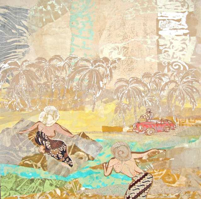 This Side of Paradise, acrylic woodblock monoprint collage on rice paper and canvas