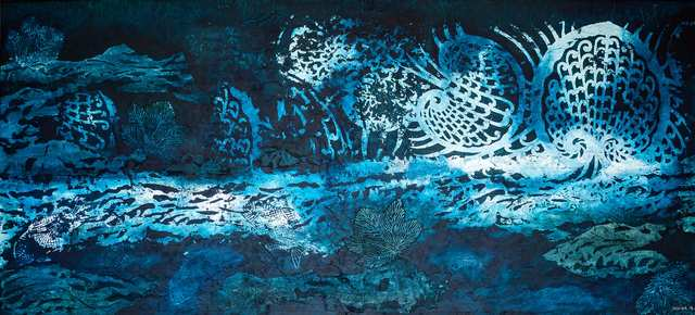Ombak Bali Blue Silver, woodblock acrylic on canvas