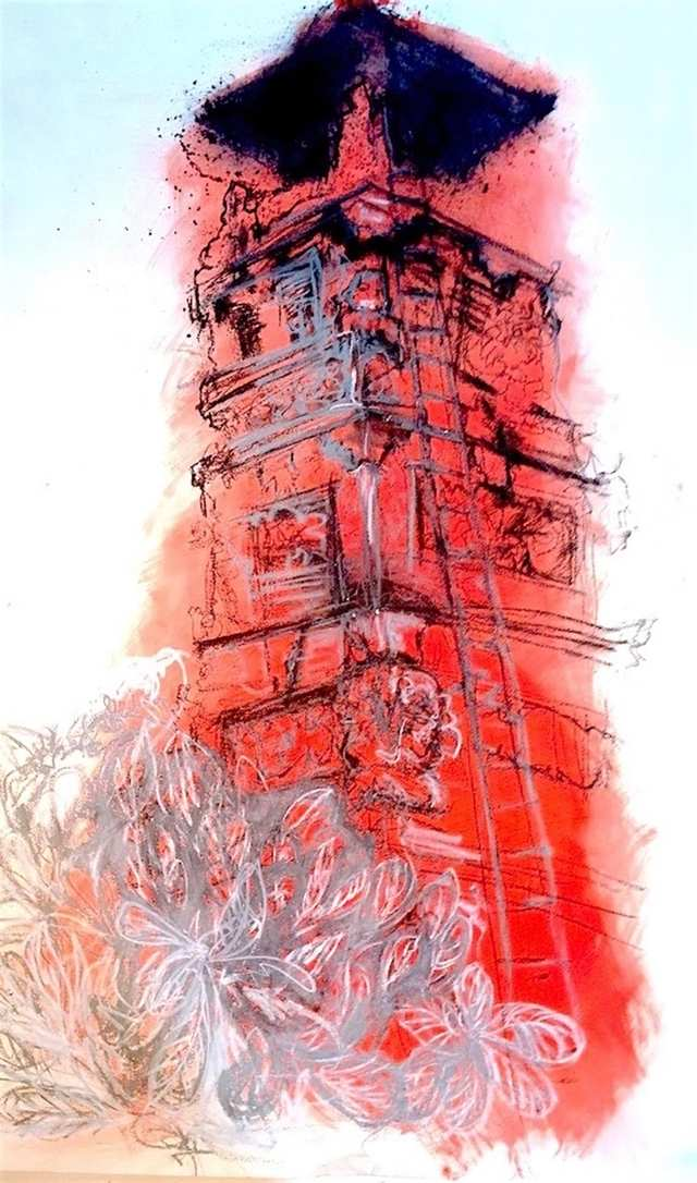 Tower Yeh Sanur, acrylic pastel charcoal on paper