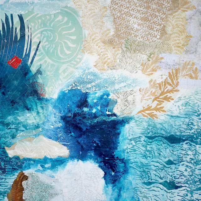Save The Blue, woodblock acrylic collage on canvas